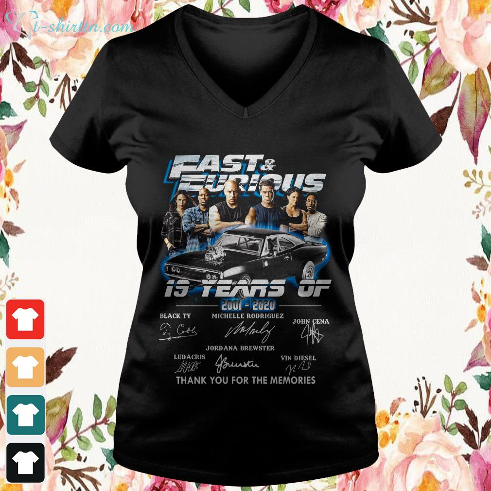 19-years-fast-furious-signatures-thank-you-for-the-memories-V-neck-t-shirt 19 years fast and furious signatures thank you for the memories shirt