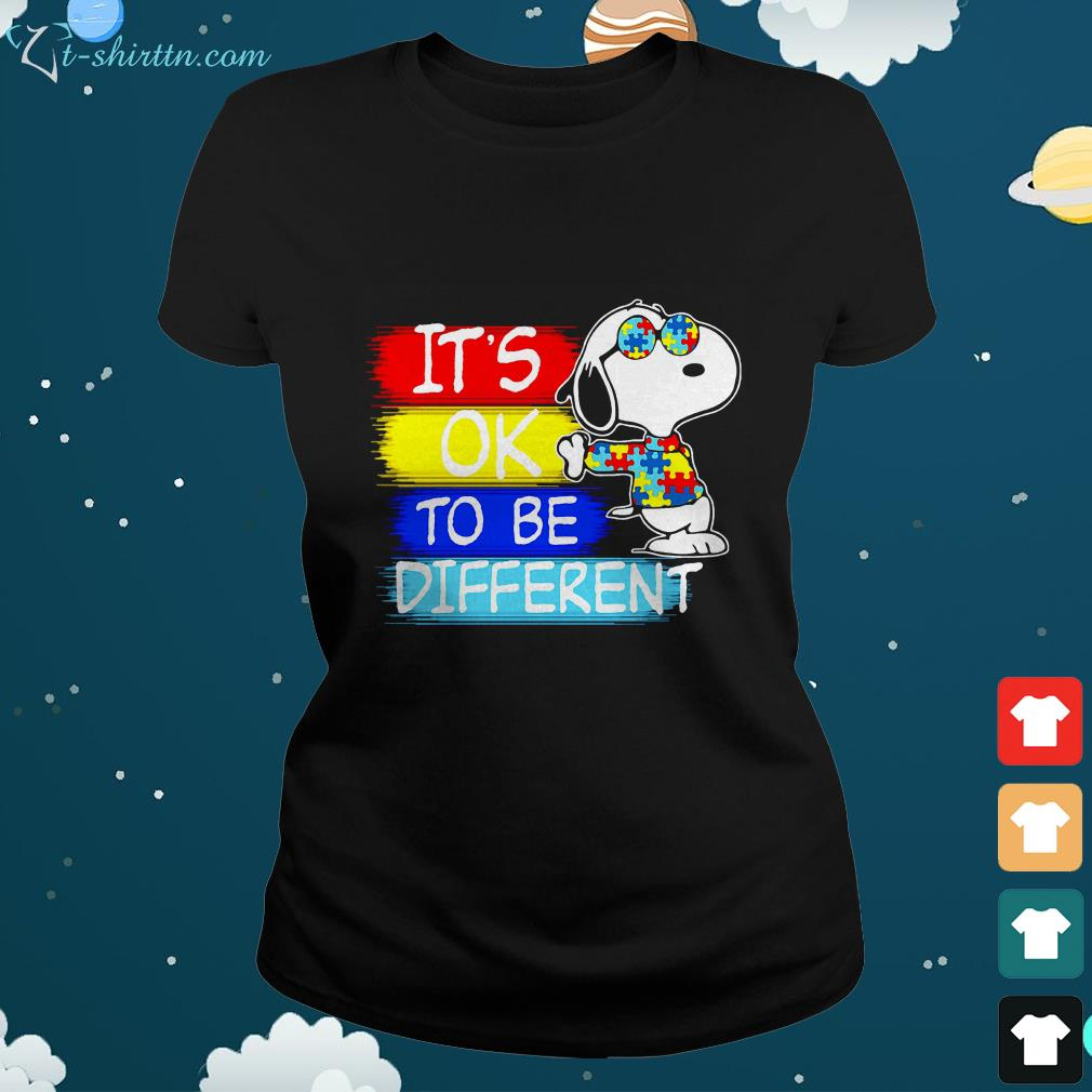 Snoopy its ok to be different Autism awareness ladies tee