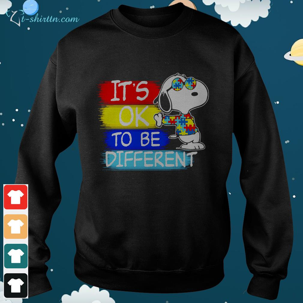 Snoopy its ok to be different Autism awareness sweater