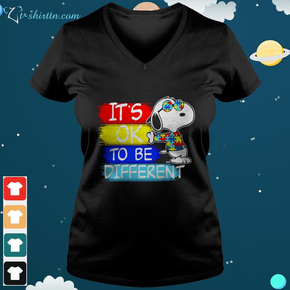 Snoopy its ok to be different Autism awareness v neck t shirt