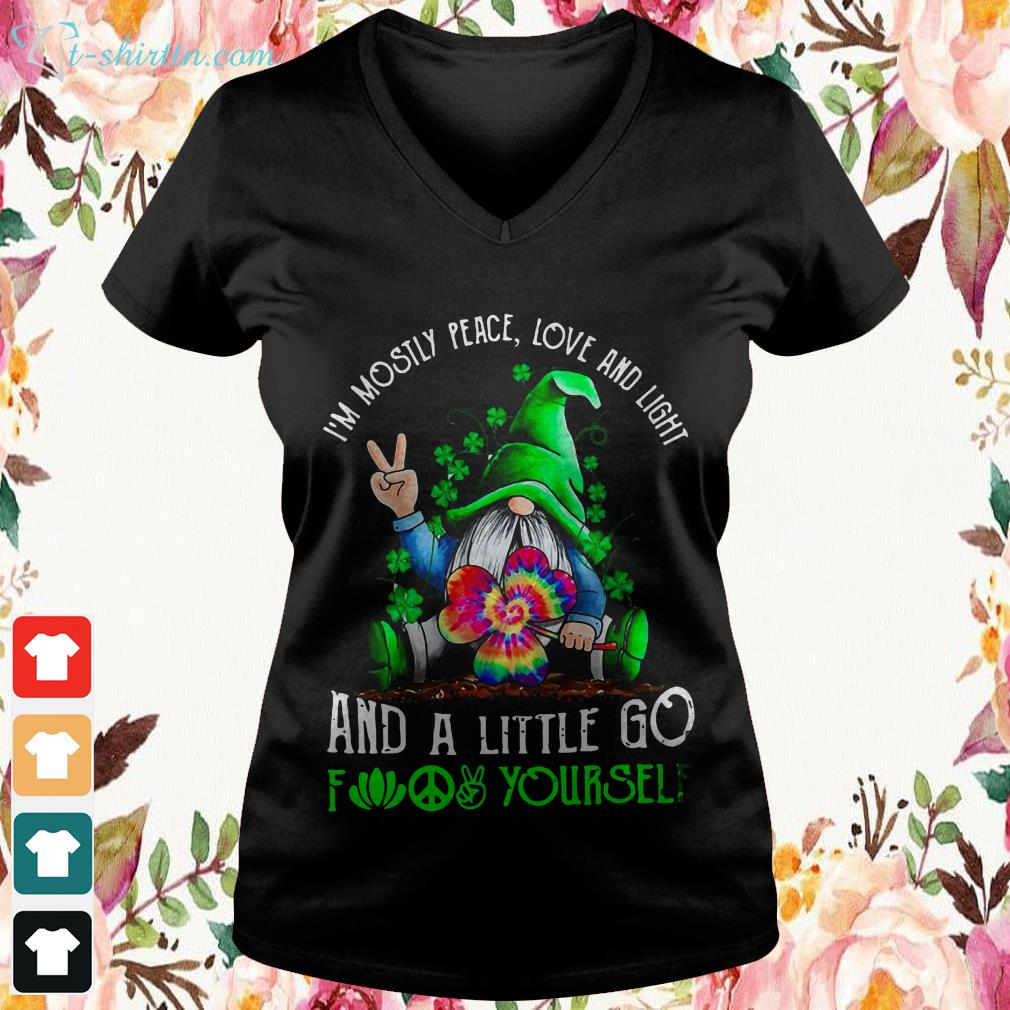 St.-Patricks-Day-Gnome-Im-mostly-peace-love-and-light-and-a-little-go-fuck-yourself-V-neck-t-shirt St. Patrick's Day Gnome I'm mostly peace love and light and a little go fuck yourself shirt