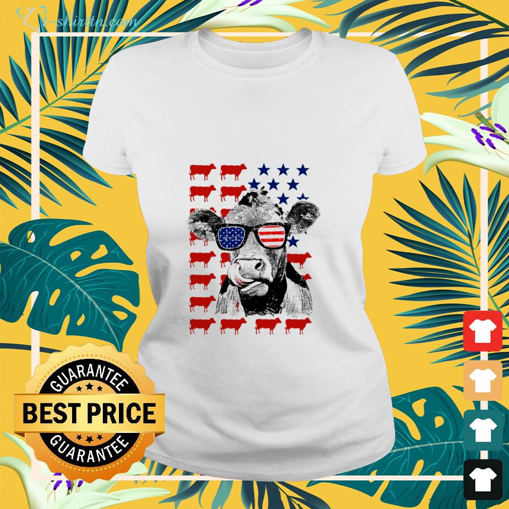 Cow american flag independence day shirt