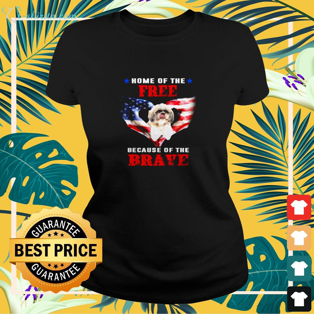 Home Of The Free Because Of The Brave ladies-tee