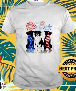 Independence day 4th of July three Golden Retriever red blue and white shirt