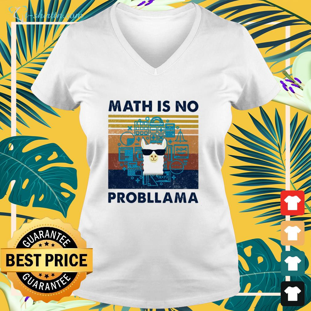 llama-math-is-no-probllama-vintage-v-neck-t-shirt Llama math is no probllama vintage shirt