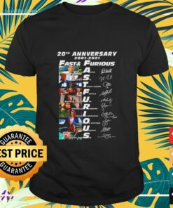 20th anniversary 2001-2021 Fast and Furious signatures shirt