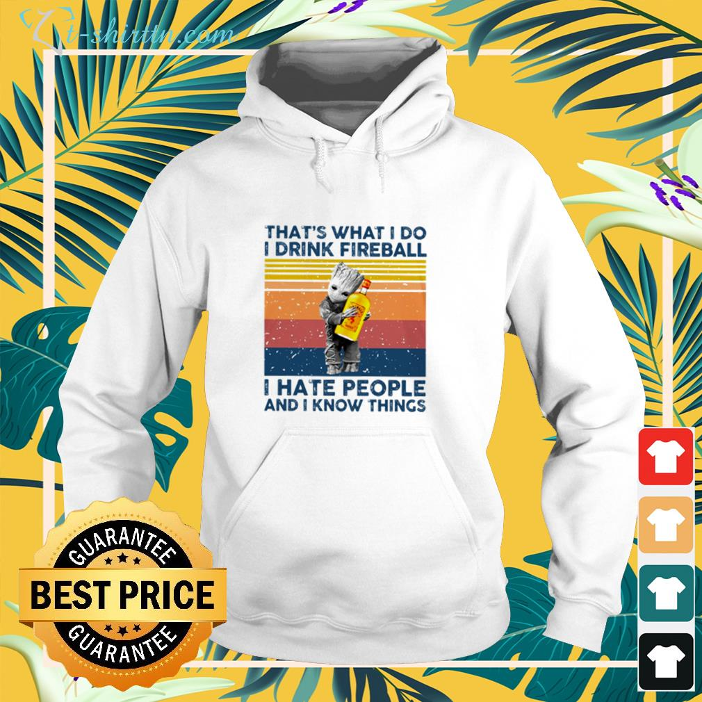 Baby Groot Hug that's what I do I drink fireball I hate people and I know things hoodie