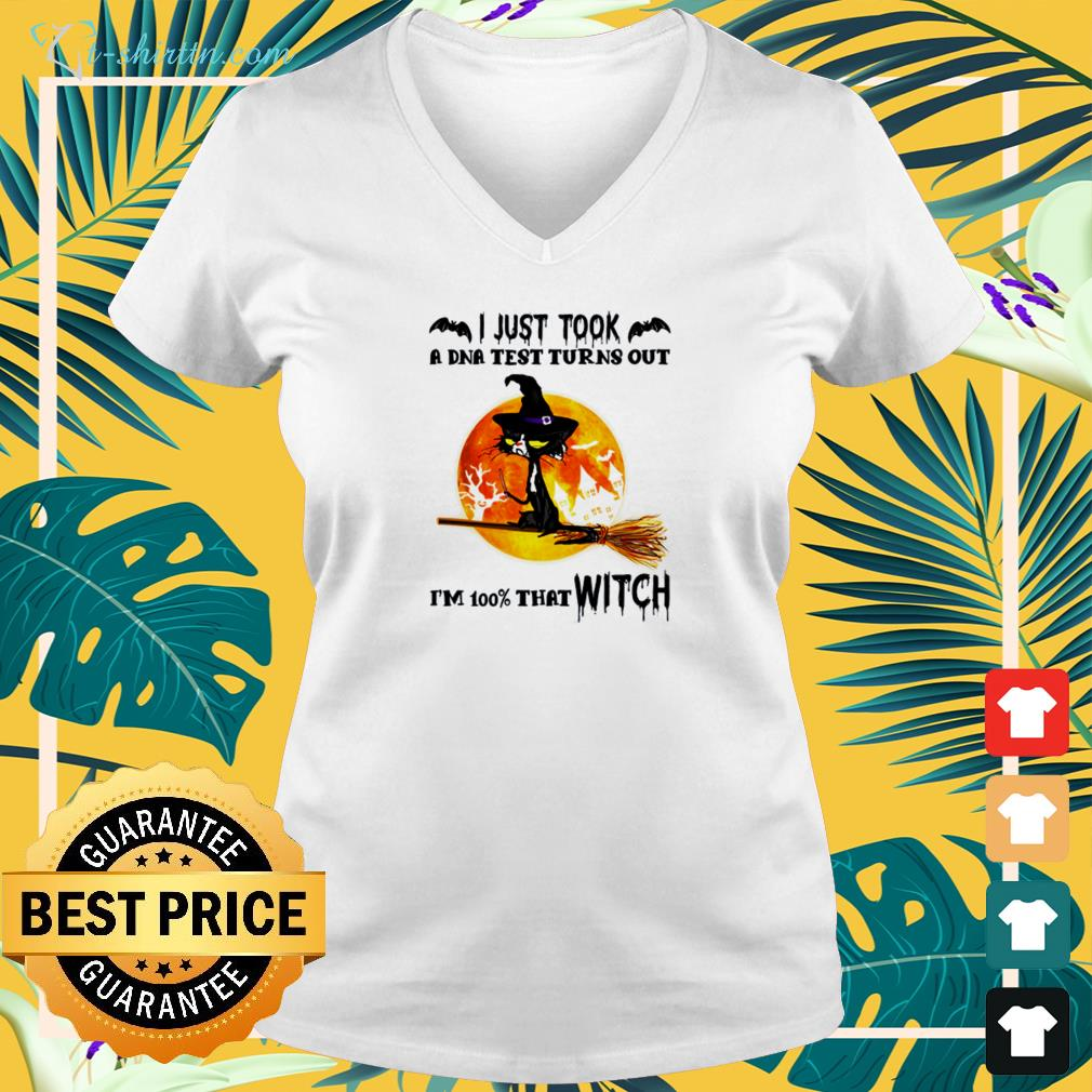 Cat I just took a DNA test turns out I'm 100 that witch halloween v-neck t-shirt