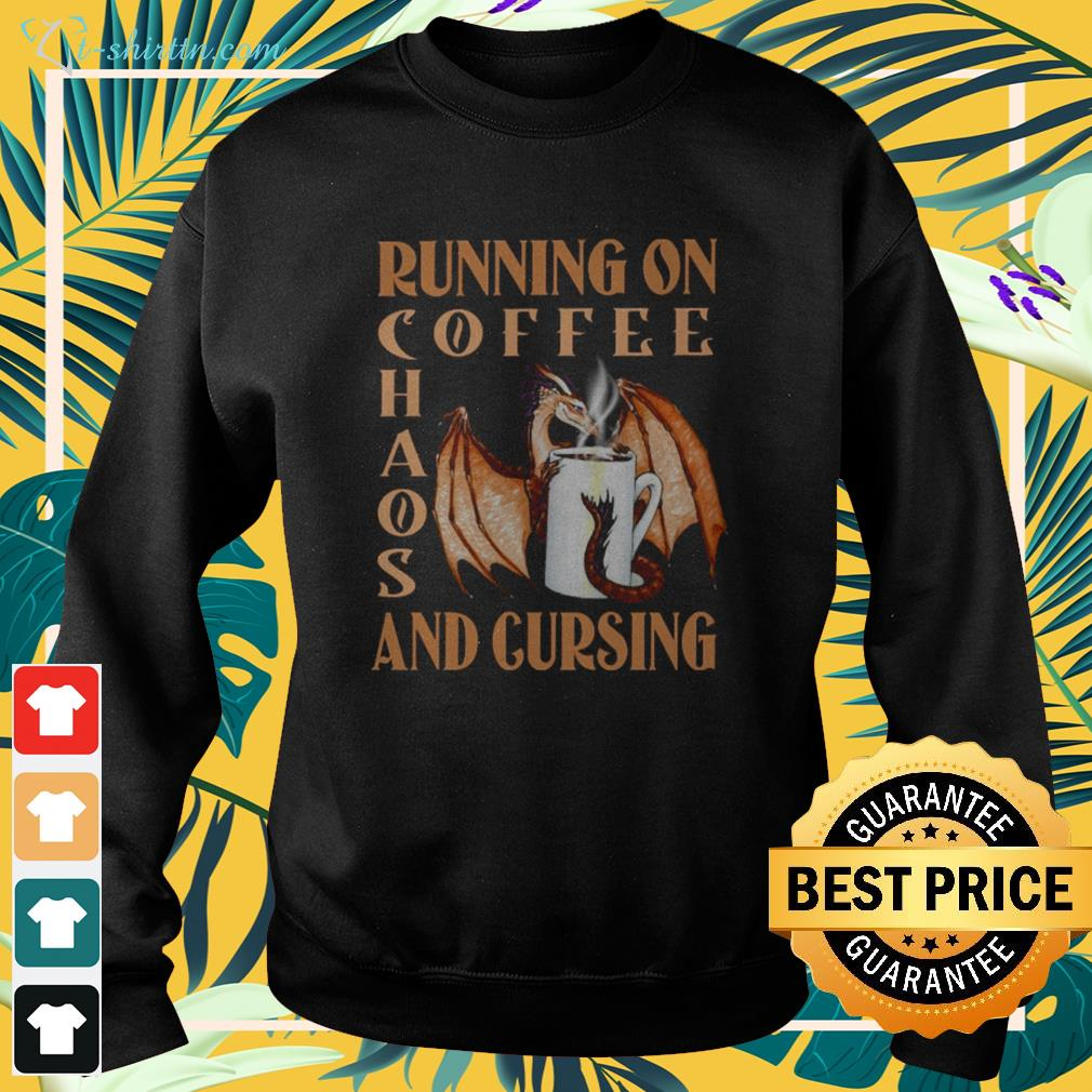 Dragon running on coffee chaos and cursing sweater