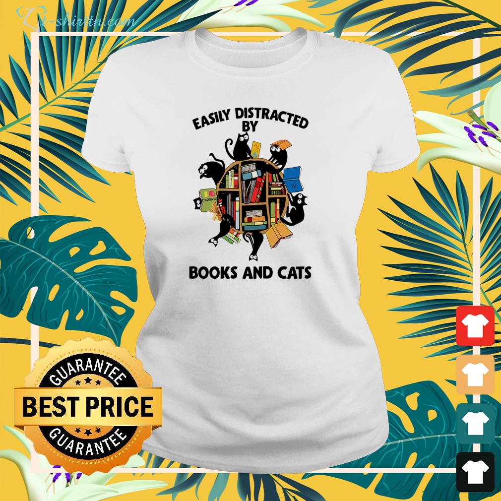 Easily distracted by books and cats ladies-tee