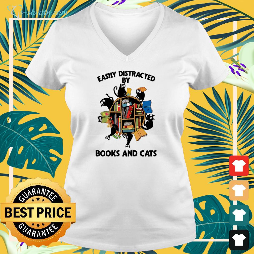 Easily distracted by books and cats v-neck t-shirt
