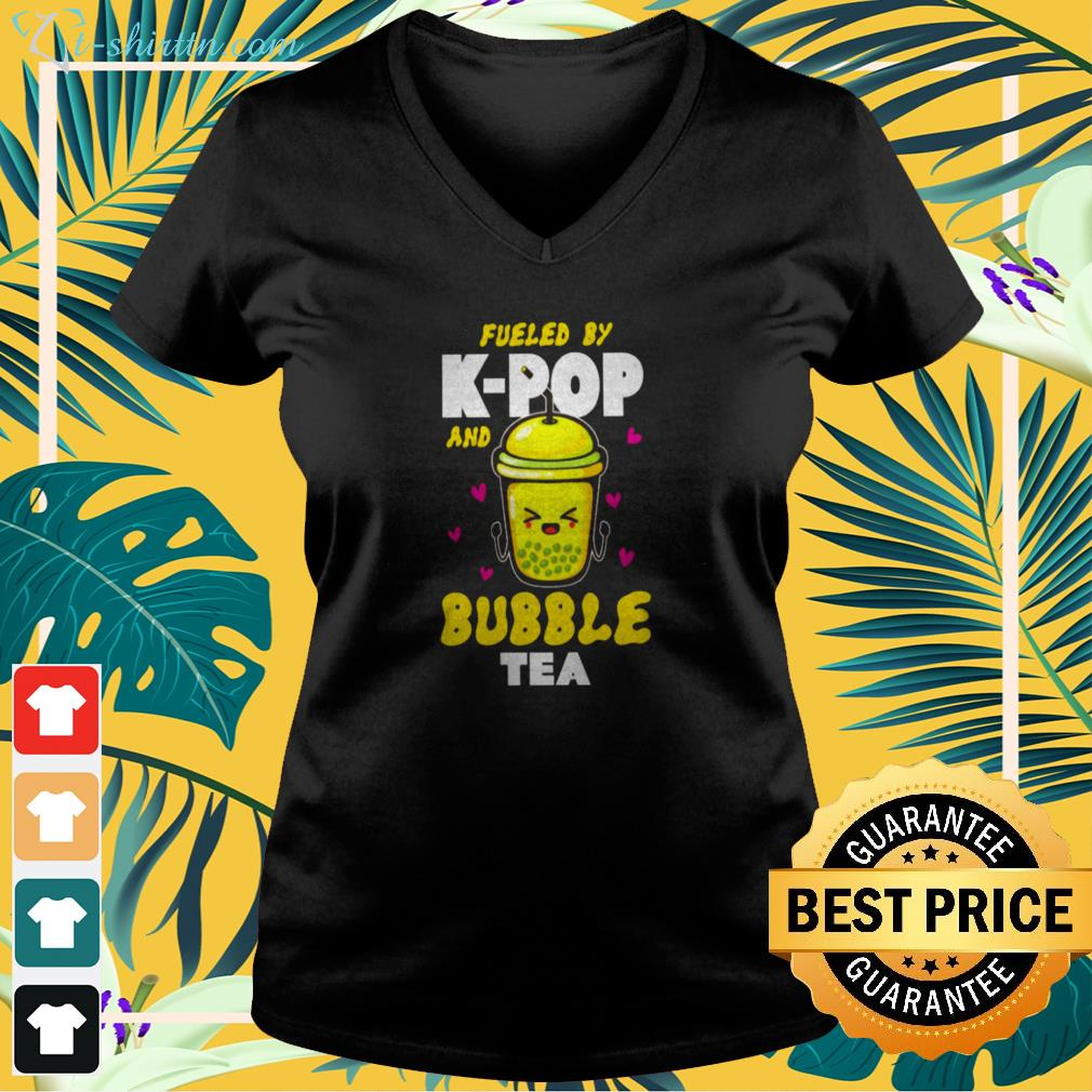 Fueled by KPOP and bubble tea v-neck t-shirt