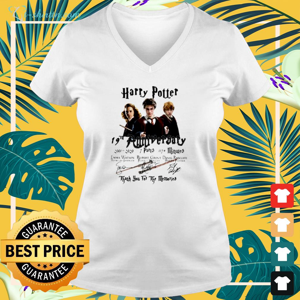 Harry Potter 19th anniversary 2001 2020 thank you for the memories v-neck t-shirt