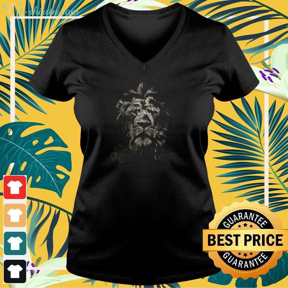 Leo the Fire Lion in Grayscale Premium v-neck t-shirt