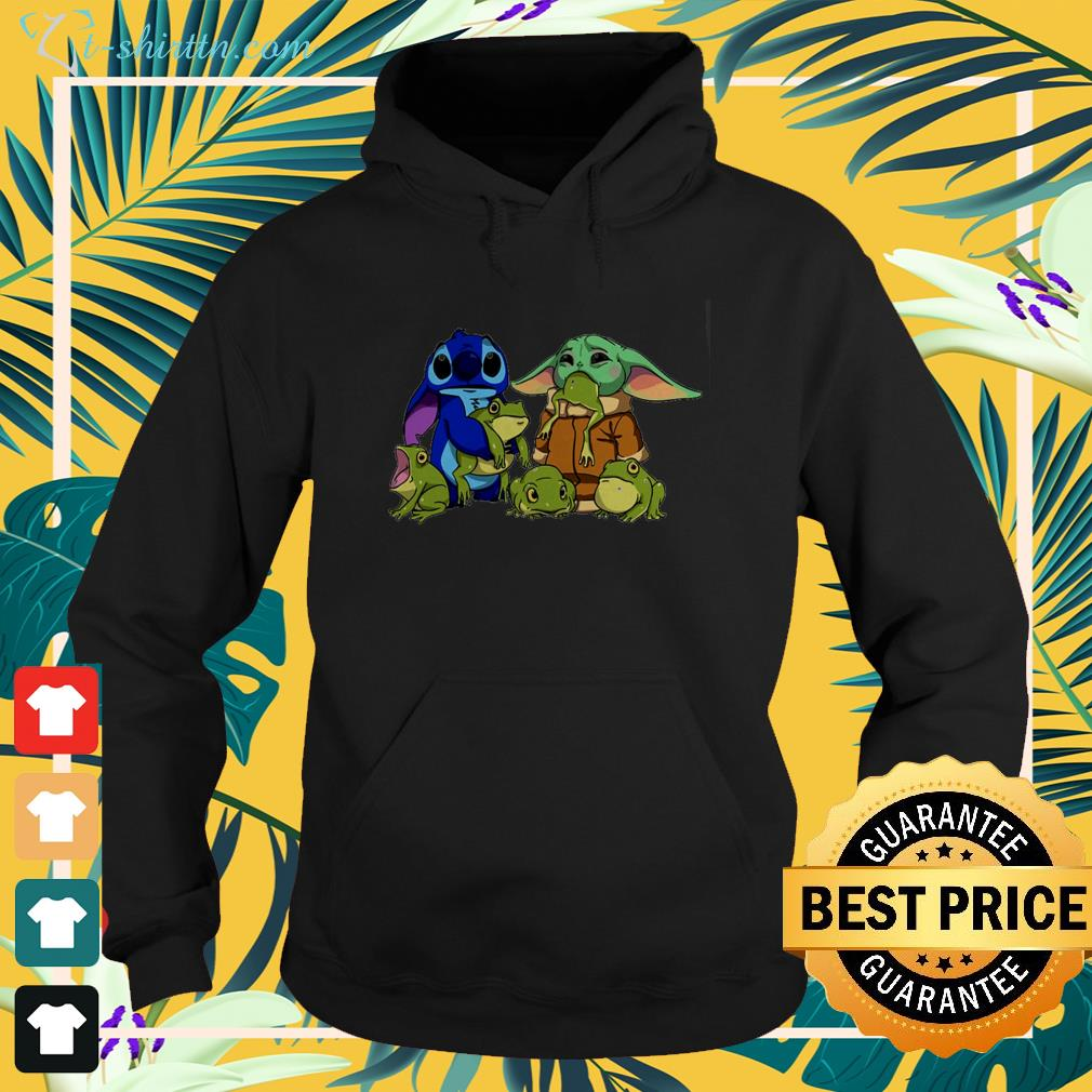 Stitch with Baby Yoda and frogs hoodie