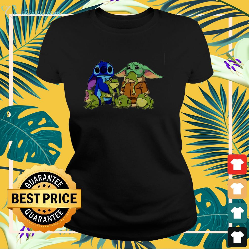 Stitch with Baby Yoda and frogs ladies-tee