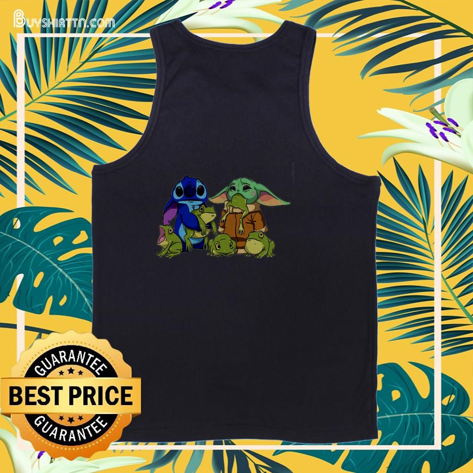 Stitch with Baby Yoda and frogs tank top