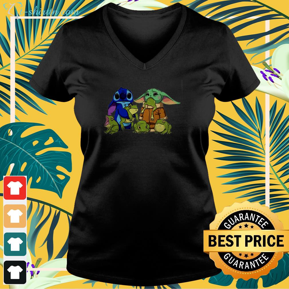 Stitch with Baby Yoda and frogs v-neck t-shirt
