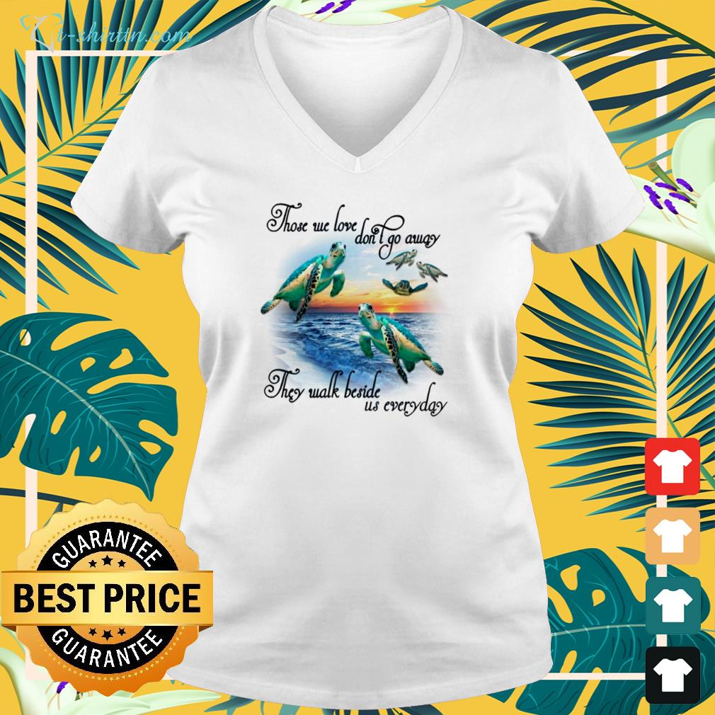 Turtles those we love don't go away they walk beside us everyday v-neck t-shirt