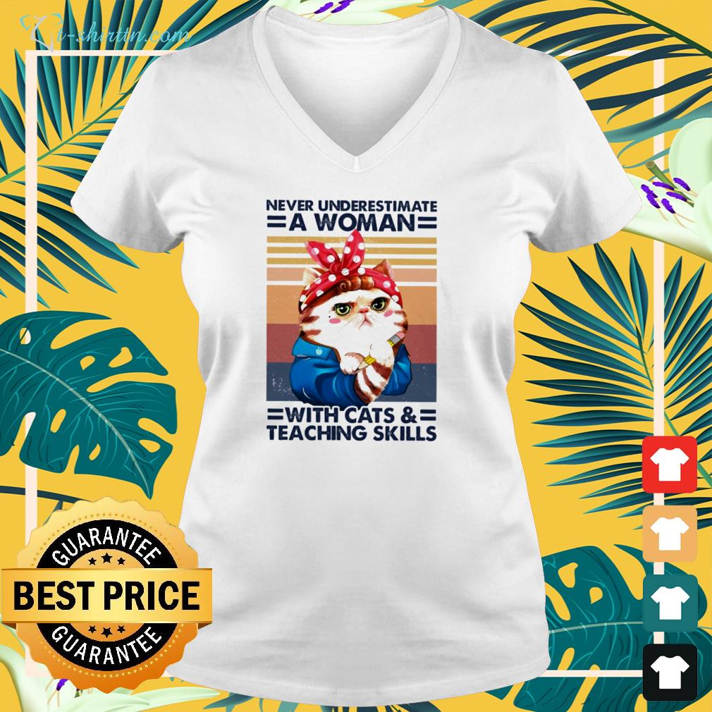 Vintage never underestimate a woman with cats v-neck t-shirt