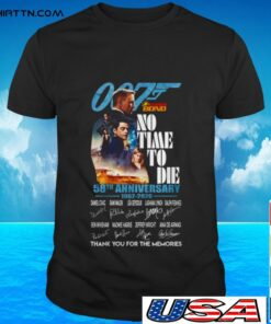 007 James bond no time to die 58th anniversary 1962 2020 signature t-shirt