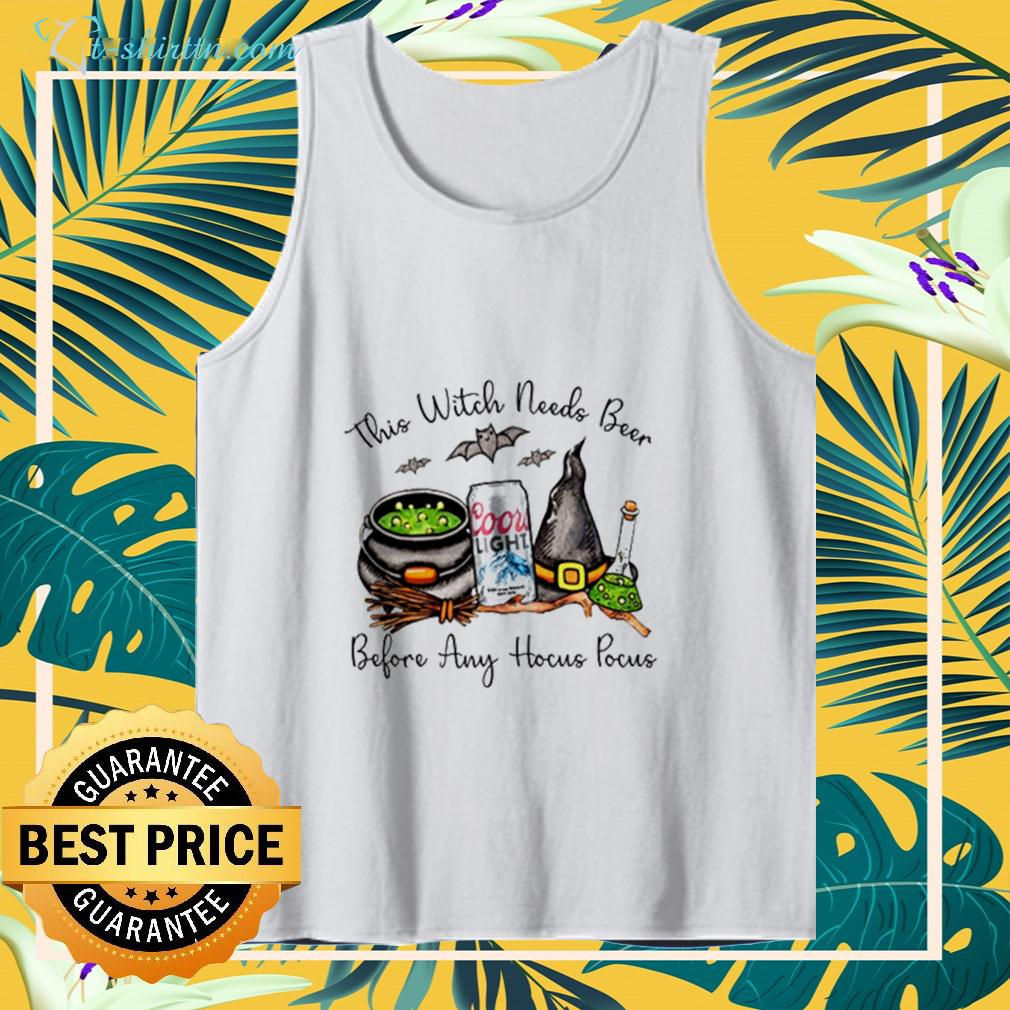 Cool light this witch needs beer before any Hocus Pocus halloween tanktop