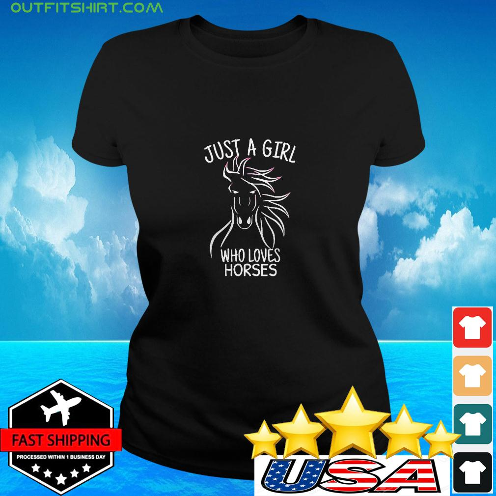 Just A Girl Who Loves Horses Cowgirl Horse Girl Ri ladies-tee
