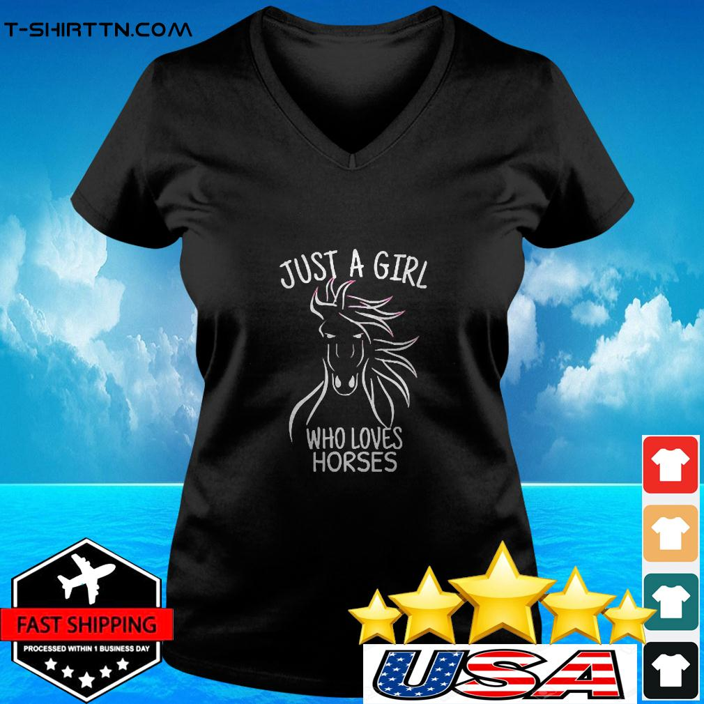 Just A Girl Who Loves Horses Cowgirl Horse Girl Ri v-neck t-shirt