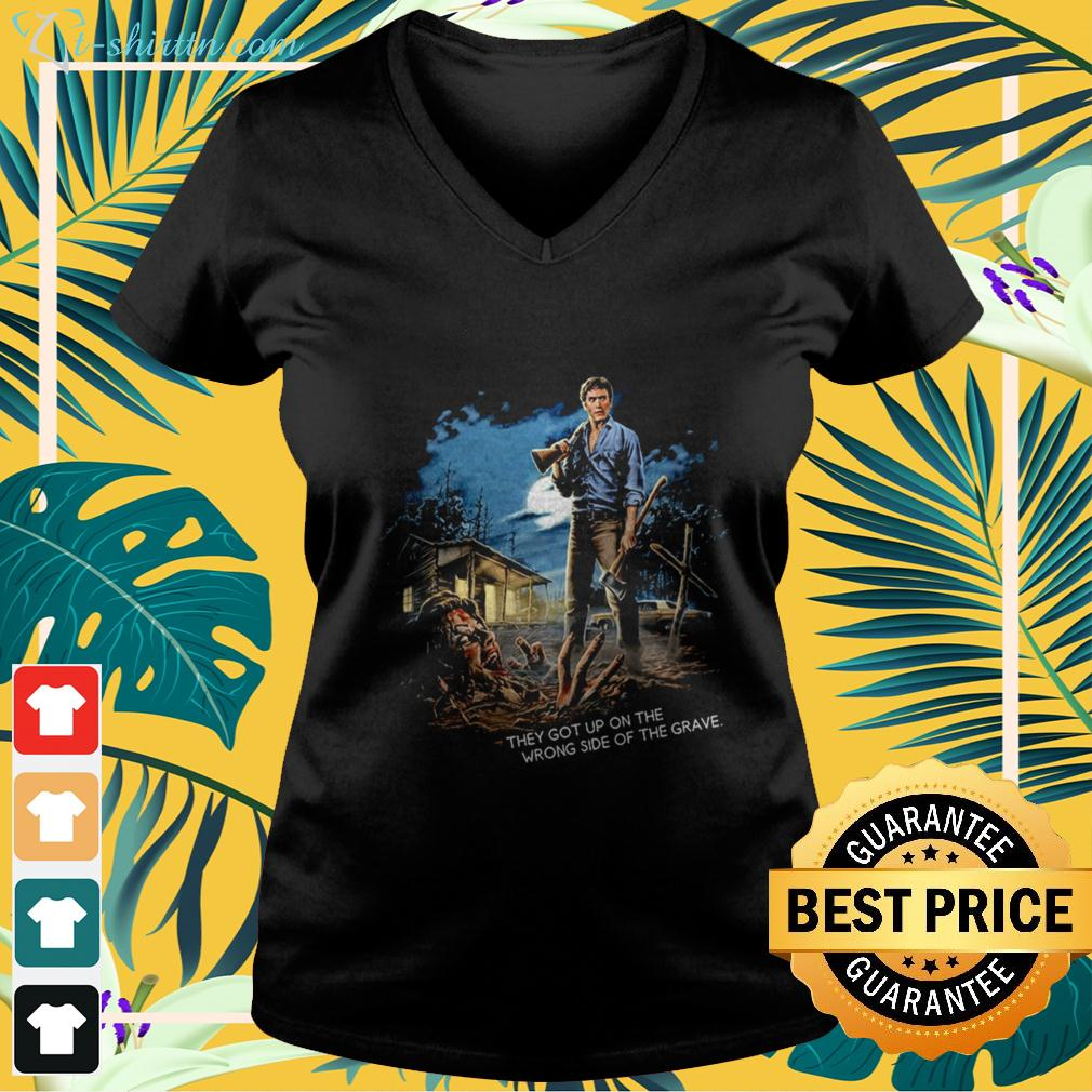 the-evil-dead-they-got-up-on-the-wrong-side-of-the-grave-v-neck-t-shirt The Evil Dead they got up on the wrong side of the grave shirt