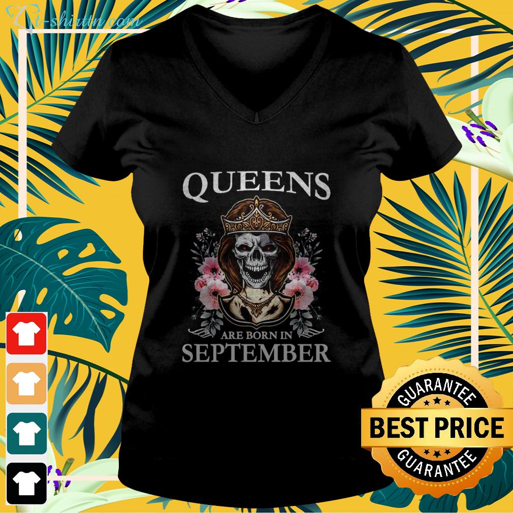 Queens are born in september v-neck t-shirt