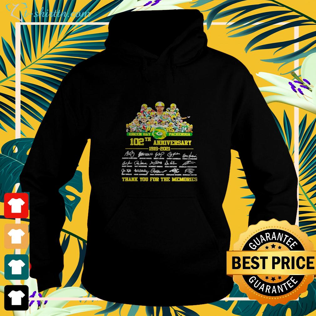 Green Bay Packersga 102th anniversary 1919-2021 thank you for the memories signatures hoodie