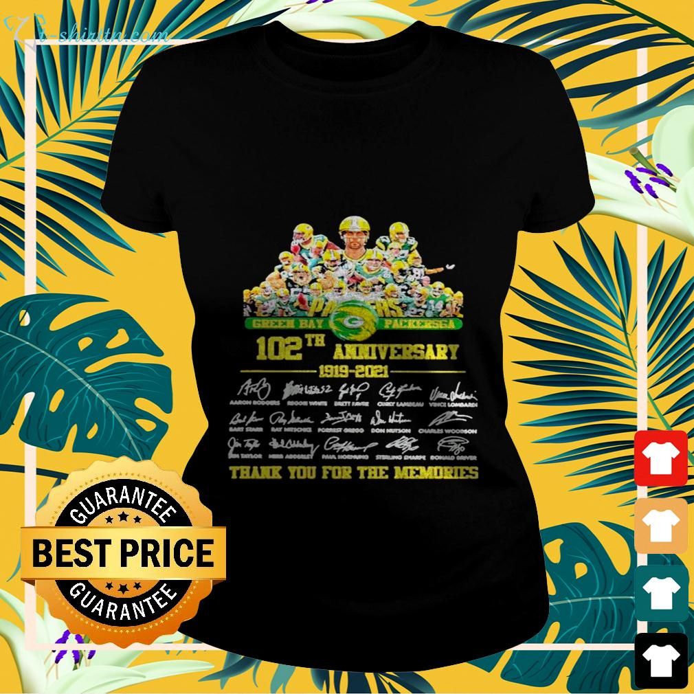 Green Bay Packersga 102th anniversary 1919-2021 thank you for the memories signatures ladies-tee