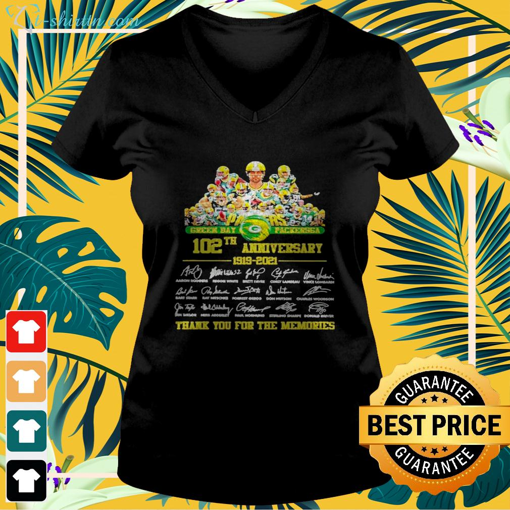 Green Bay Packersga 102th anniversary 1919-2021 thank you for the memories signatures v-neck t-shirt