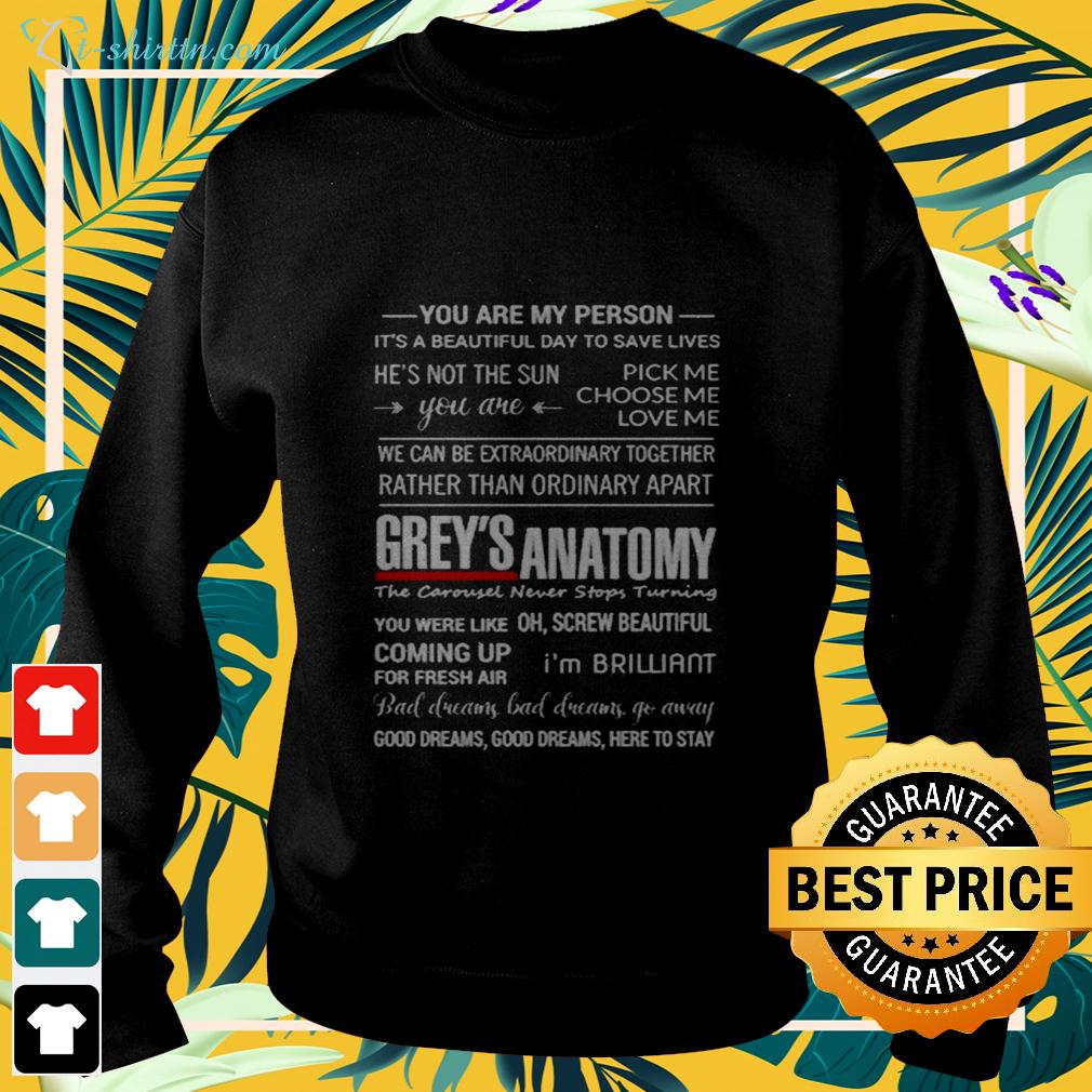Grey's Anatomy you are my person it's a beautiful day to save lives sweater