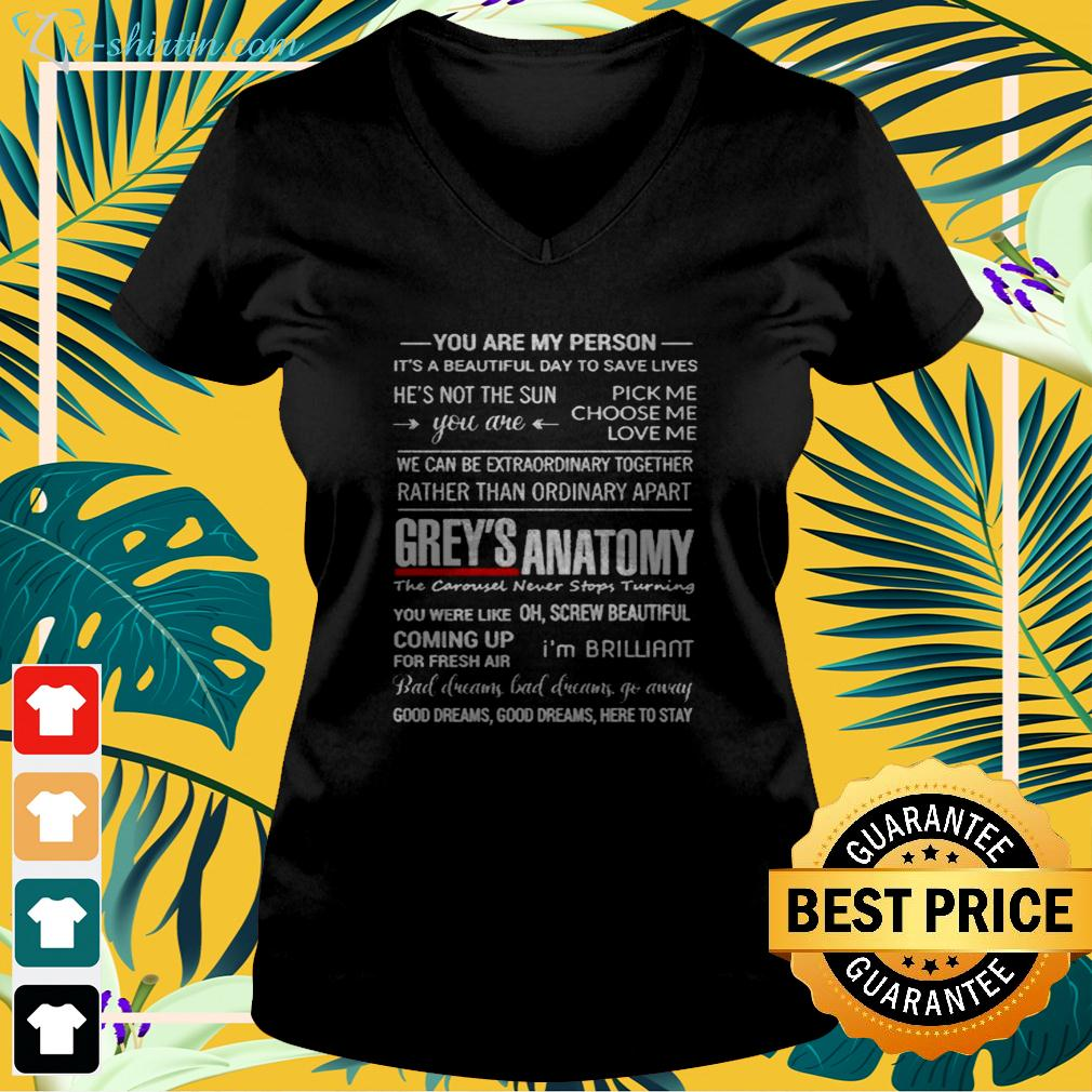 Grey's Anatomy you are my person it's a beautiful day to save lives v-neck t-shirt