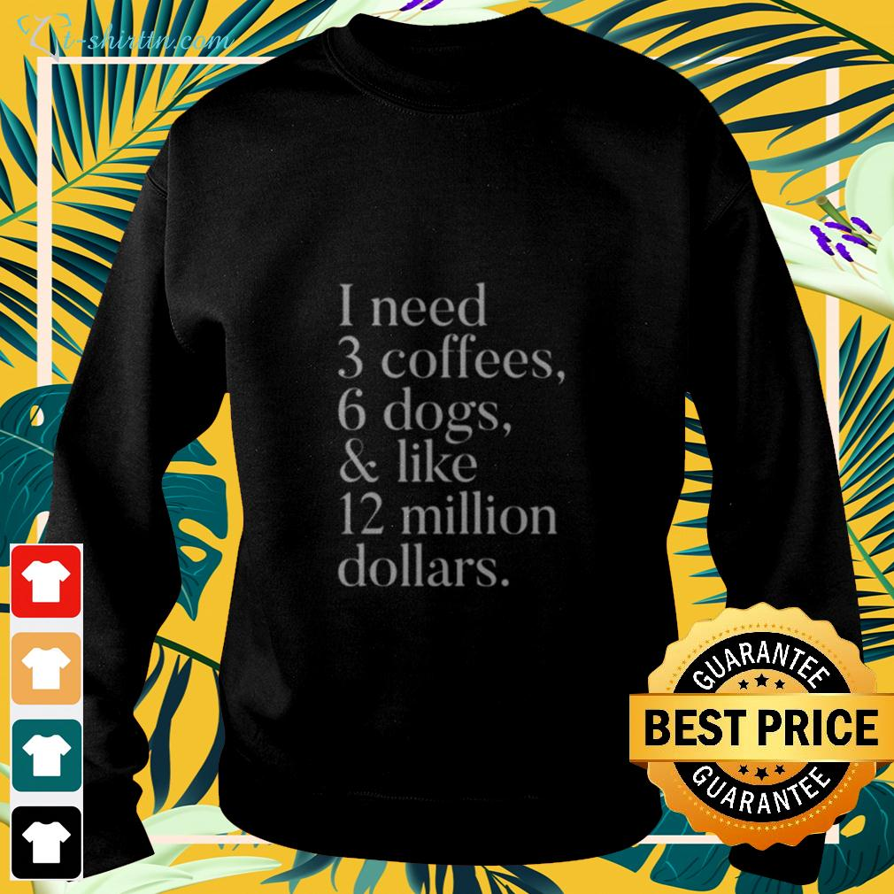 I need 3 coffees 6 dogs and like 12 million dollars sweater