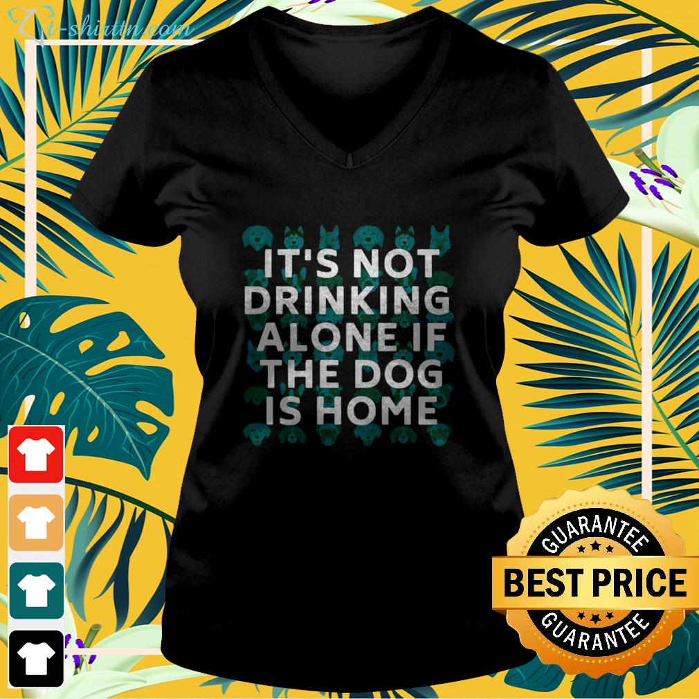 It's not drinking alone if the dog is home v-neck t-shirt