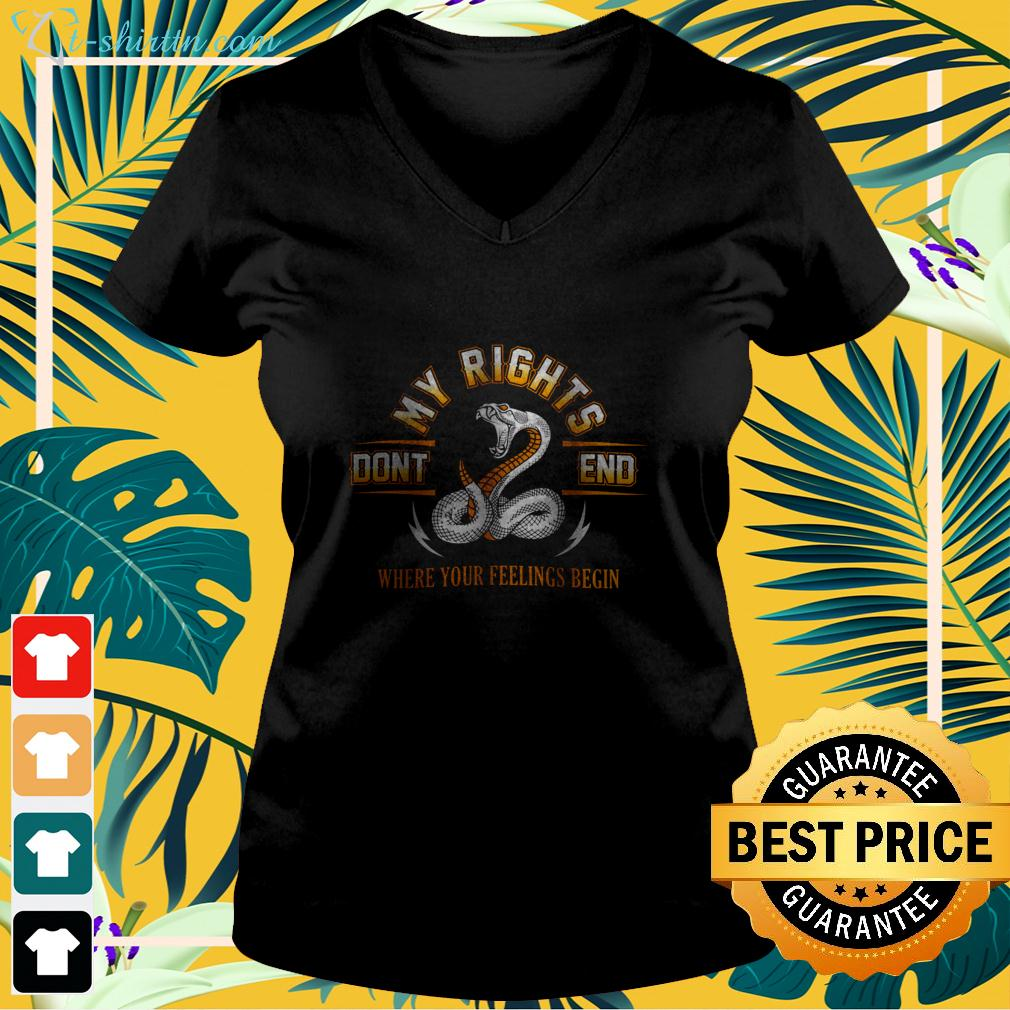 My rights don't end where your feelings begin v-neck t-shirt