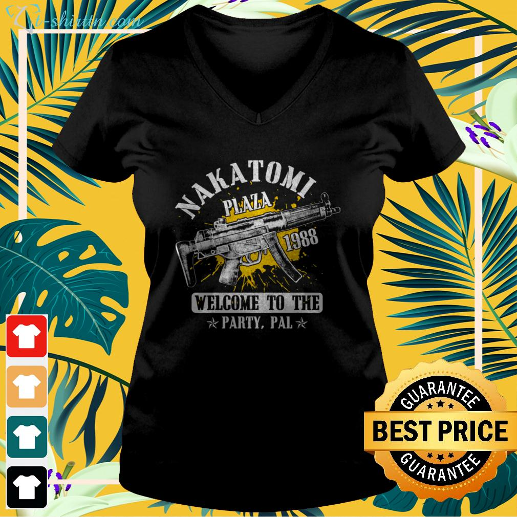 Nakatomi plaza 1988 welcome to the party pal party v-neck t-shirt