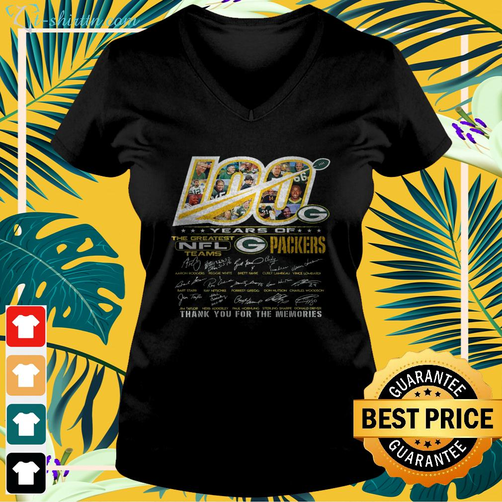 100 years of the greatest NFL teams Green Bay Packers thank you for the memories v-neck t-shirt