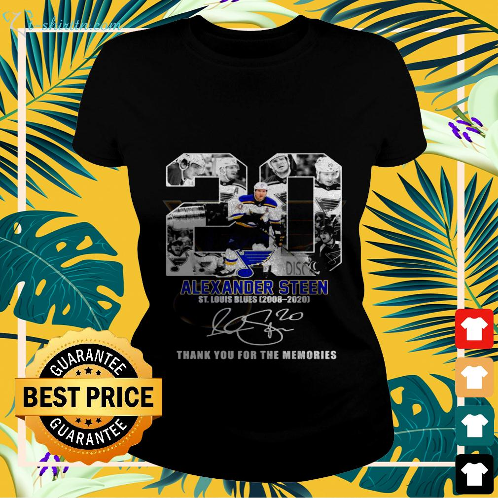 20 Alexander Steen St. Louis Blues 2008 2020 thank you for the memories signature ladies-tee