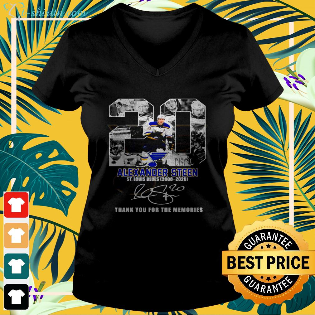 20 Alexander Steen St. Louis Blues 2008 2020 thank you for the memories signature v-neck t-shirt