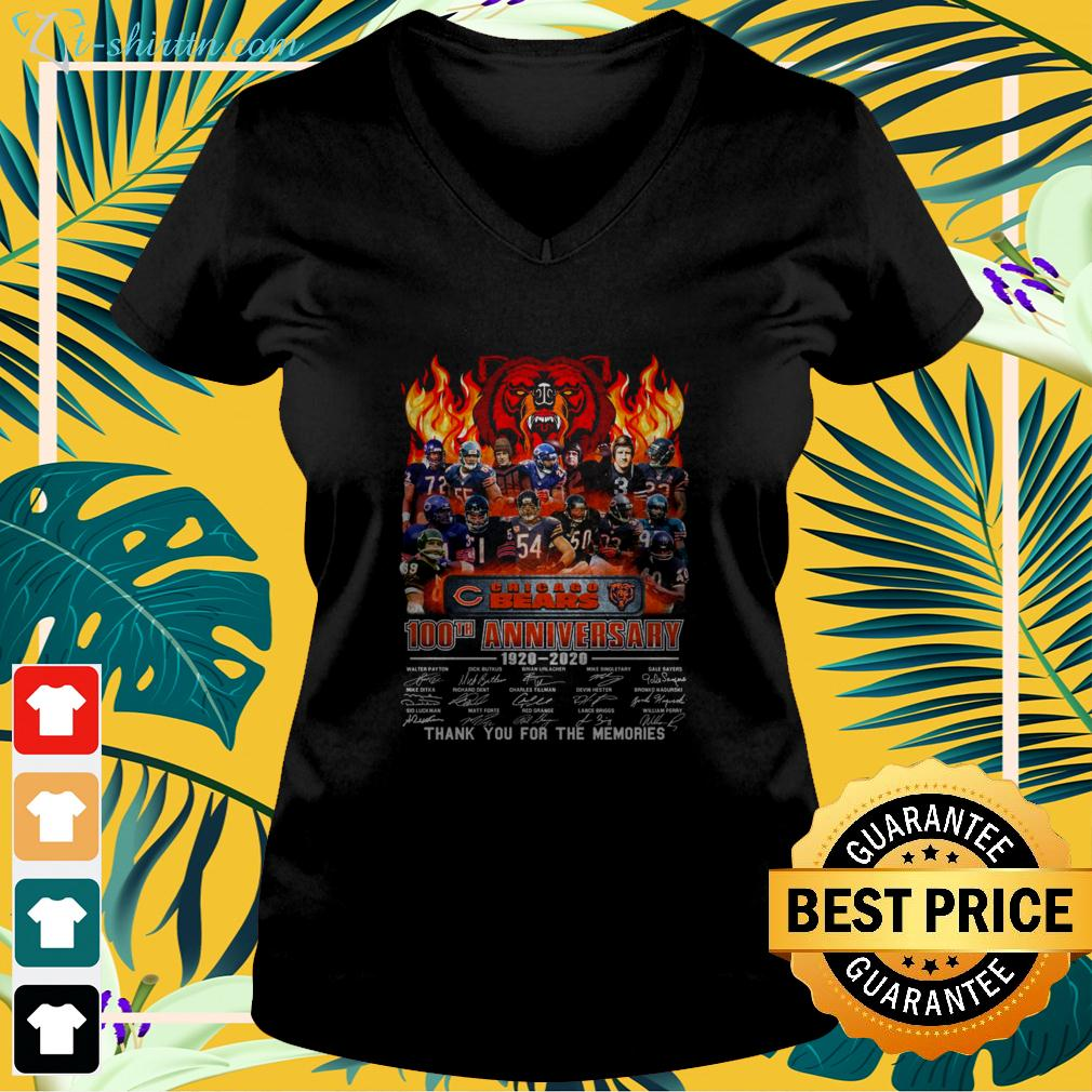 2020 Chicago Bears 100th anniversary 1920-2020 thank you for the memories v-neck t-shirt