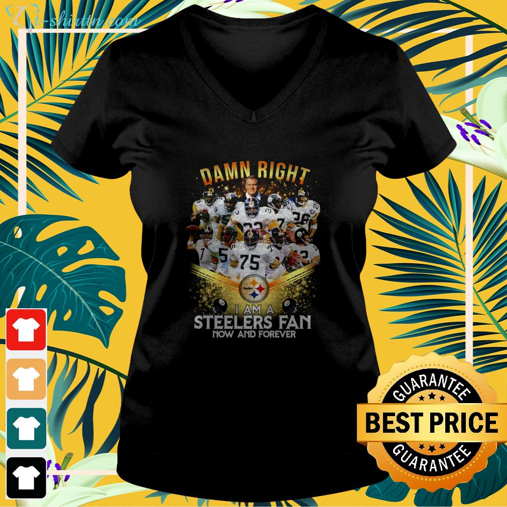 2020 damn right I am a Steelers fan now and forever v-neck t-shirt