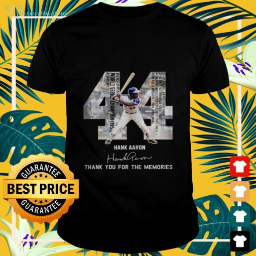 44 Hank Aaron thank you for the memories signature t-shirt