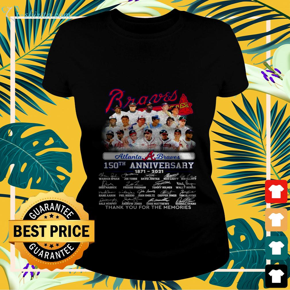 Atlanta Braves 150th anniversary 1871 2021 thank you for the memories signatures ladies-tee