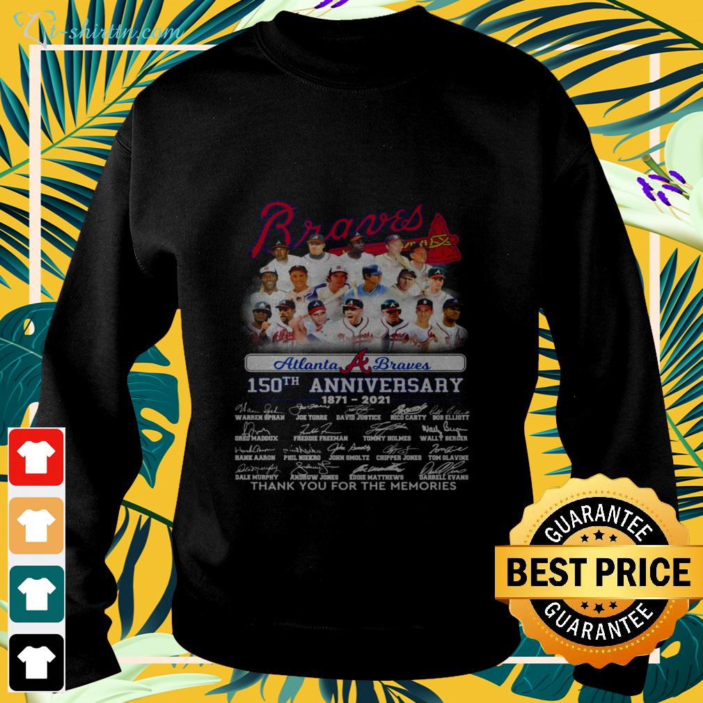 Atlanta Braves 150th anniversary 1871 2021 thank you for the memories signatures sweater