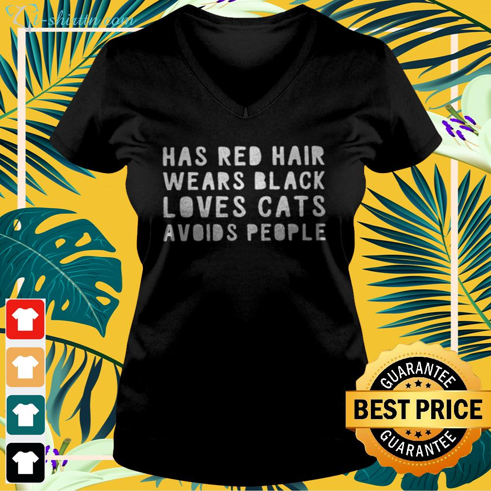 Has red hair wears black loves cats avoids people v-neck t-shirt