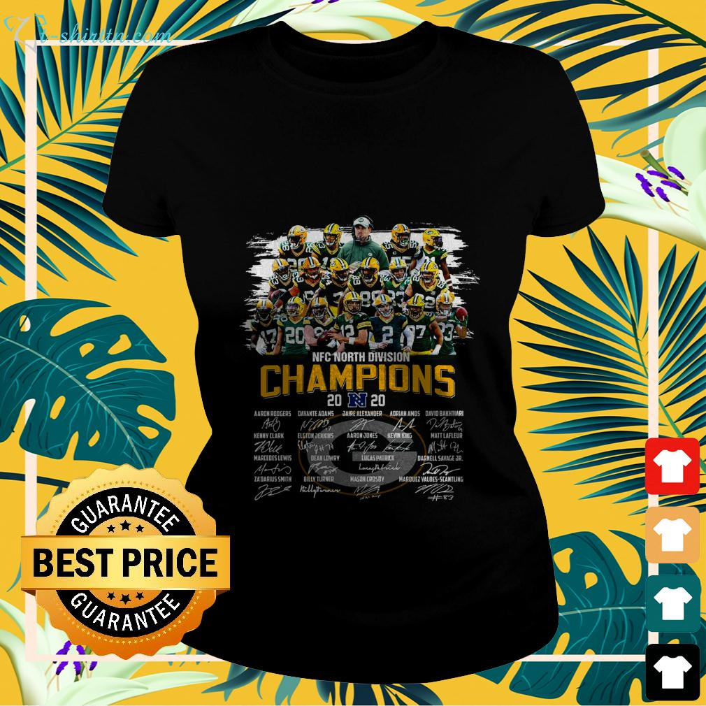 Official Green Bay Packers NFC North Division champions 2020 signature ladies-tee