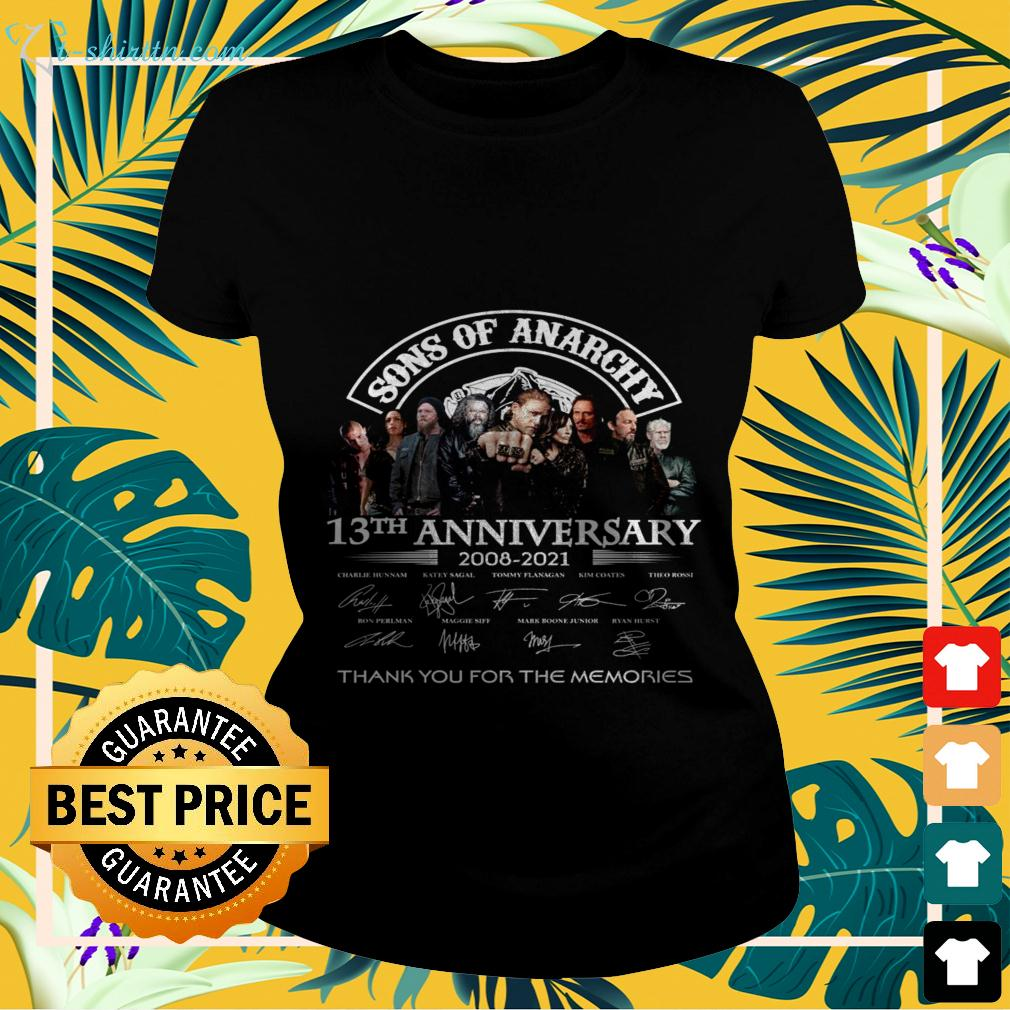 Sons of Anarchy 13th anniversary 2008-2021 thank you for the memories signatures ladies-tee